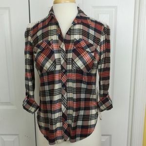 Lucky Brand plaid button up with crochet back